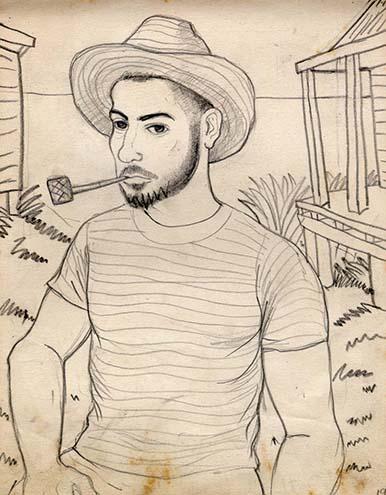 Autoretrato con pipa Hernando Tejada. Lápiz sobre papel. 1948