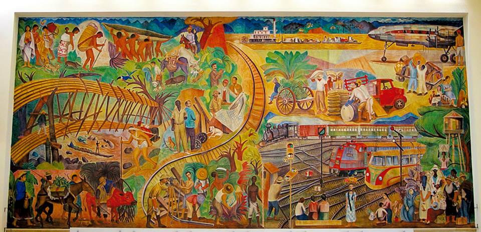 Mural historia del transporte